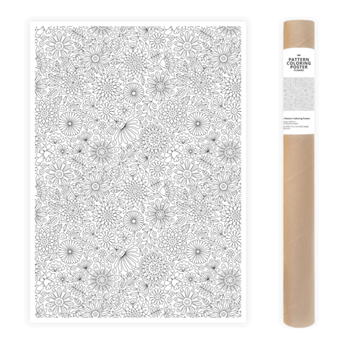 flowers pattern adult coloring poster