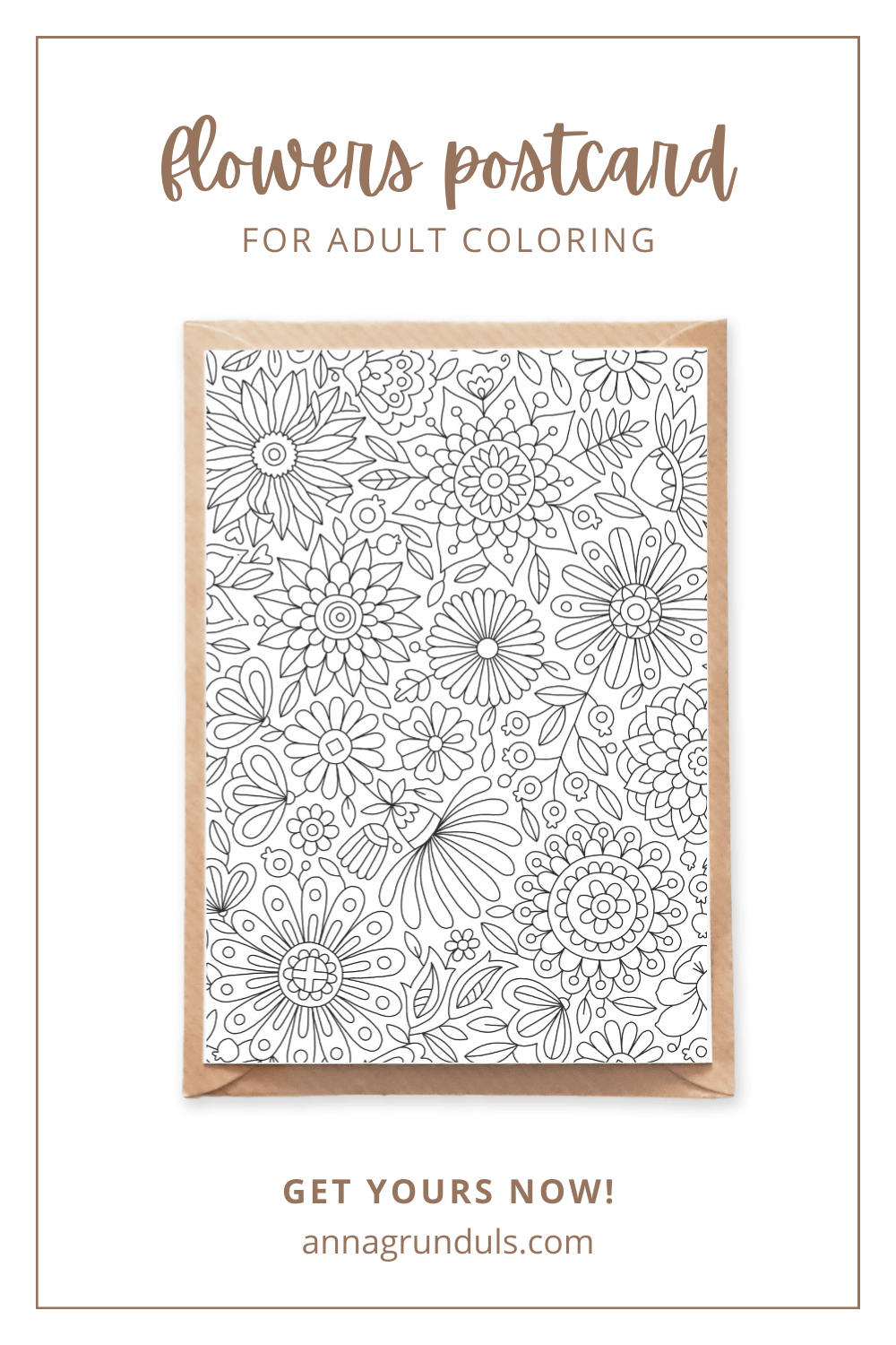 flowers pattern postcard for adult coloring pinterest pin