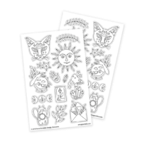 magic witchy stickers for adult coloring with cat
