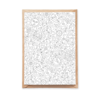 magical pattern adult coloring postcard