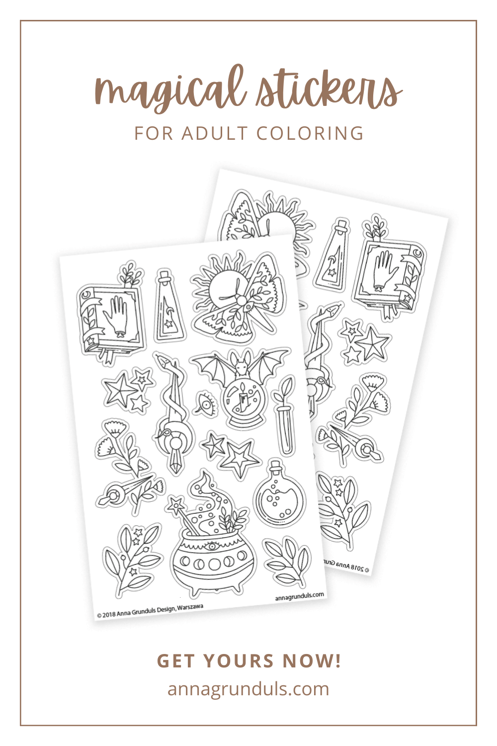 magical stickers for adult coloring pinterest pin