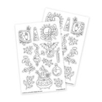 magical stickers with witch cauldron for adult coloring