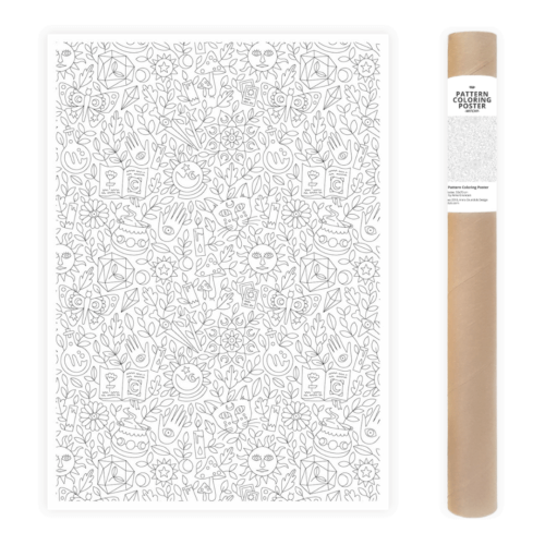 witchy pattern magical coloring poster