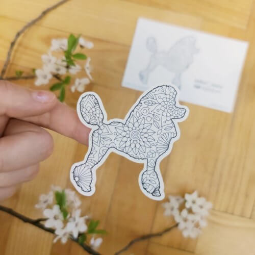 adult coloring stickers with dog breed silhouette poodles