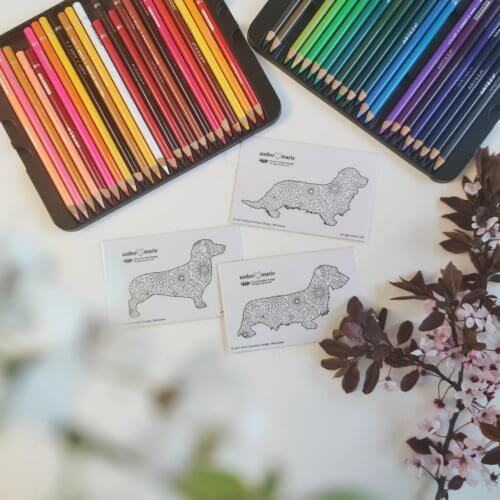dachshunds dog breed stickers for adult coloring