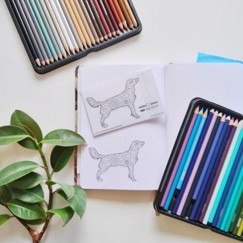 flowers dog silhouette breed coloring stickers