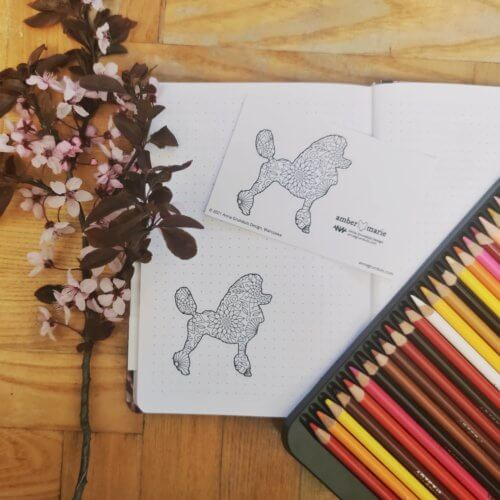 poodle dog breed adult coloring stickers