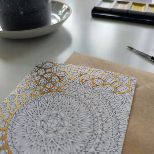 adding sparkle to adult coloring with gold paint
