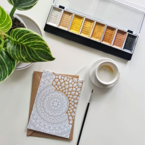 adult coloring with gold watercolor paint