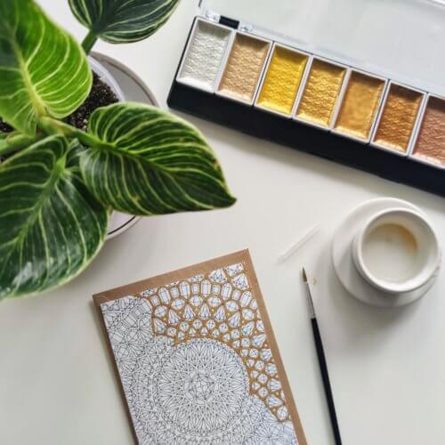 gold watercolor paint for adult coloring