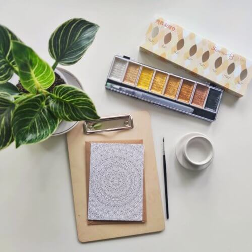 supplies list adult coloring with gold paint
