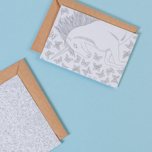 two magical postcards to color in with unicorn and a witchy pattern