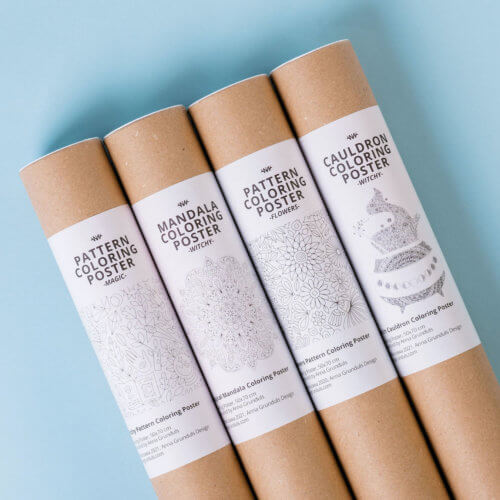 Adult coloring posters in tubes with magical designs