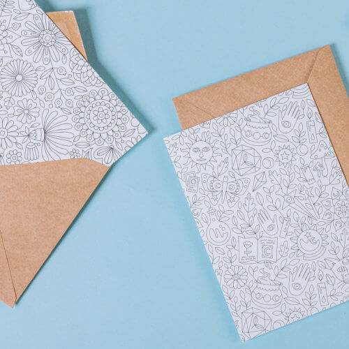 adult coloring postcards with flowers and magical patterns